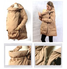 Down Duffle Mother Coat With Baby Pouch