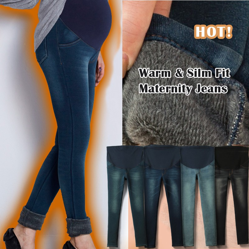 Super warm slim fit maternity winter jeans