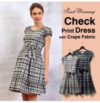 Check Print Maternity Nursing Dress