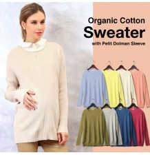 Organic Cotton Maternity Nursing Sweater With Petit Dolman Sleeves
