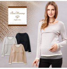 Long Sleeves Organic Cotton Maternity Nursing Top