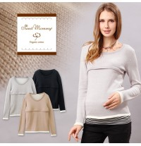 Long Sleeves Organic Cotton Maternity Nursing Top
