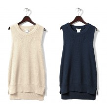 Maternity and nursing knit vest in organic cotton