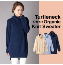 Turtleneck maternity and nursing organic knit sweater