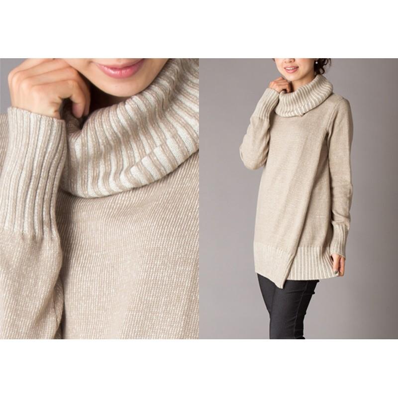 Double-layer Organic Cotton Maternity Nursing Turtleneck Sweater