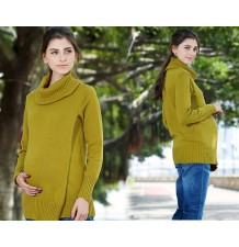 Double-layer Organic Cotton Maternity Nursing Turtleneck Sweater