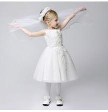 Abitino cerimonia bimba damigella bianco 80-140cm