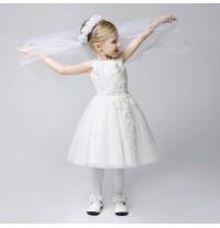 Abitino cerimonia bimba damigella bianco 80-150cm