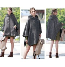 Hooded tweed maternity and mom poncho