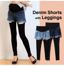 Maternity denim shorts with bamboo leggings