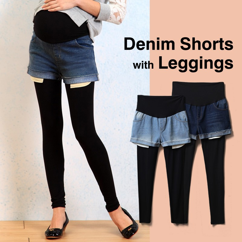 Pantaloncini di jeans premaman con leggings integrati
