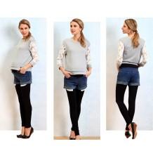 Short de grossesse en jean avec leggings en bambou integrés