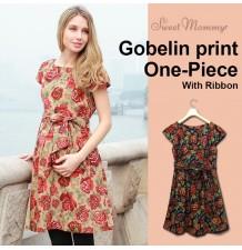 Gobelin Print Maternity Nursing Dress