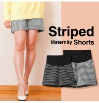 Striped maternity shorts