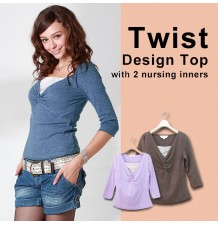 Twist Front Top with two nursing inners
