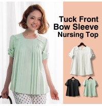 Tuck front bow sleeve nursing top