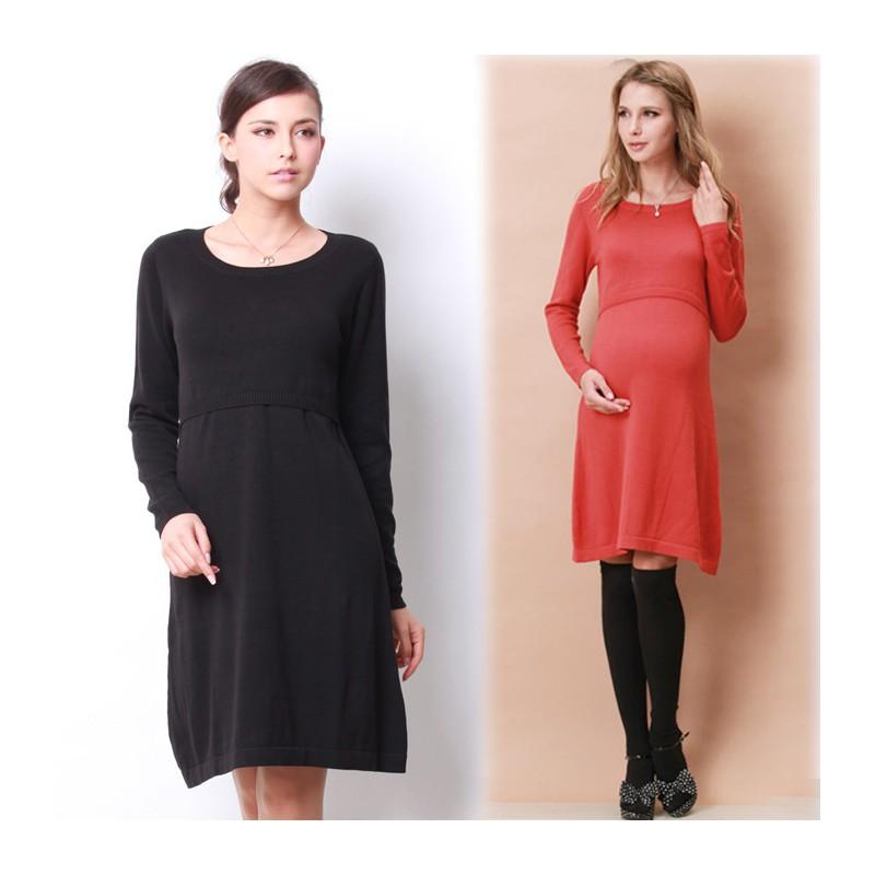 Long Sleeves Organic Cotton Maternity Nursing Knit Dress