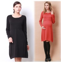 Long Sleeves Organic Cotton Maternity Nursing Knit Dress