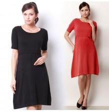 Short Sleeves Organic Cotton Maternity Nursing Knit Dress