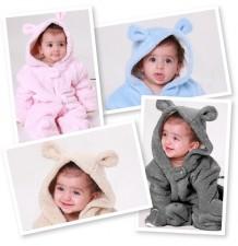 Barboteuse/costume de carnaval petit ours doublée en coton biologique