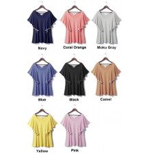 Ruffle and short sleeve maternity and nursing top