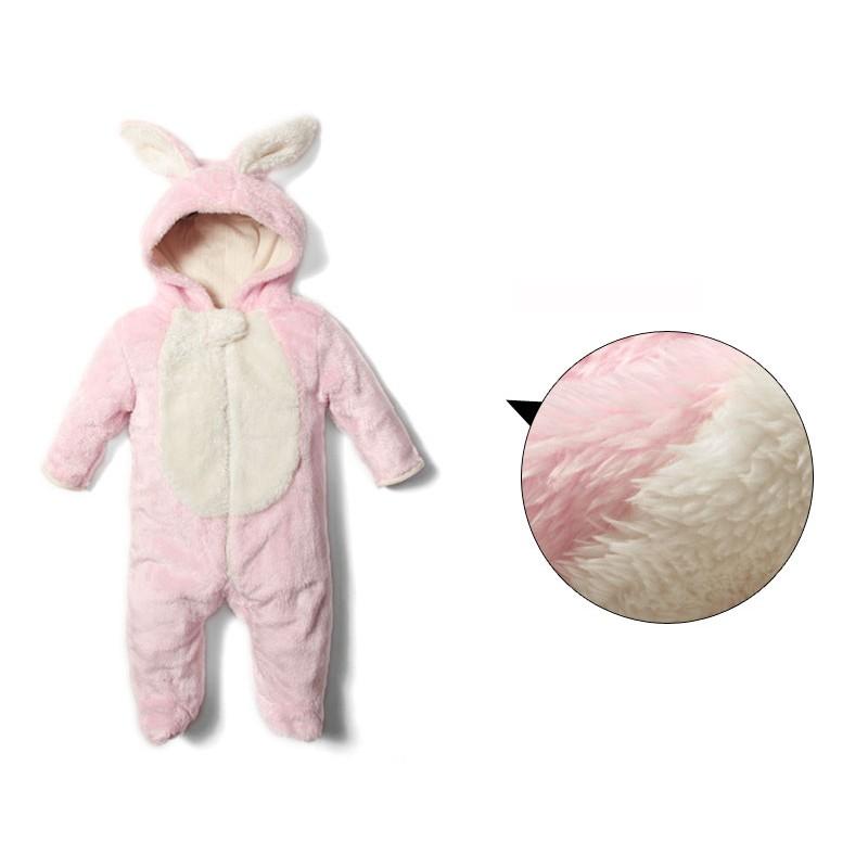 Barboteuse/costume de carnaval petit lapin doublée en coton biologique