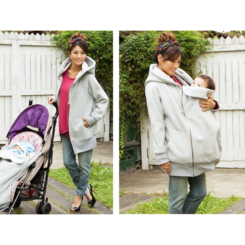 Longline Mother Jacket with baby pouch for stroller