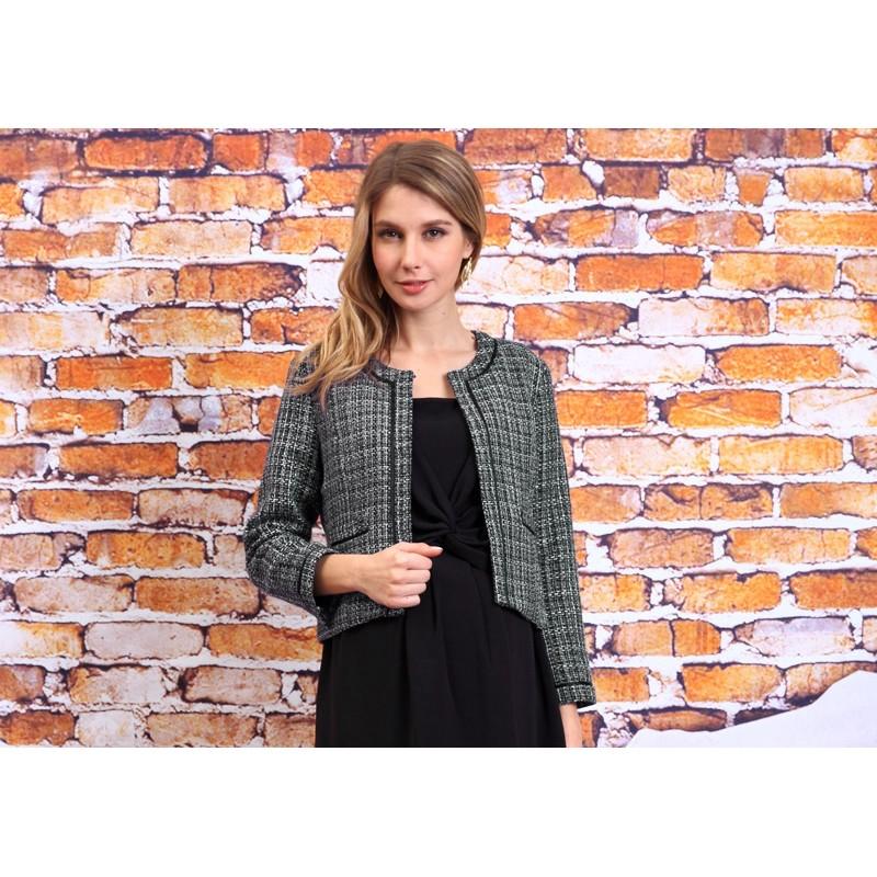 Collarless Tweed Formal Jacket