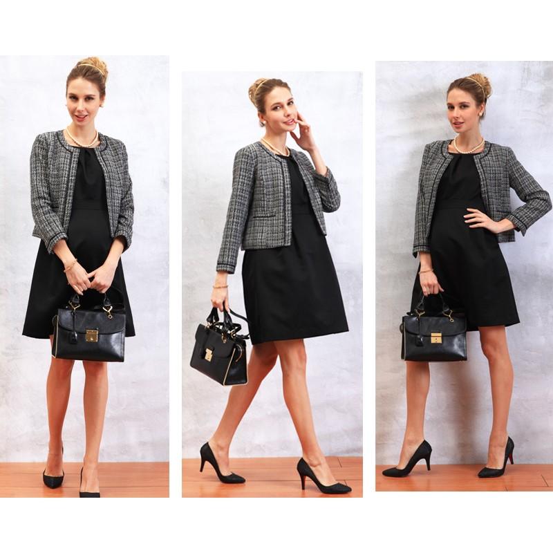 Elegante Tweed Giacca Senza Colletto