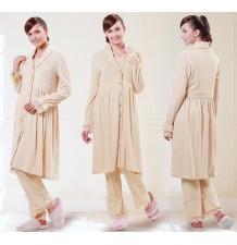 Pyjama d'Hiver de Grossesse et Allaitement en Coton Bio