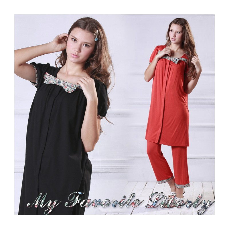 """LIBERTY"" Print Ribbon Maternity Nursing Pajamas"