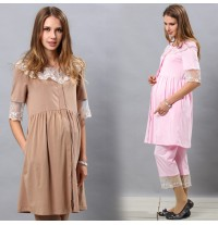 Tulle Lace Color Maternity and Nursing Nighty Pajama