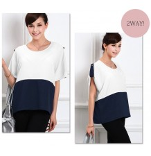 Maternity and Nursing Georgette Top with Adjustable Sleeves