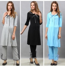 Front Piping Maternity and Nursing Nighty Pajamas