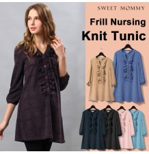 Front Frill Design Maternity & Nursing Tunic Top