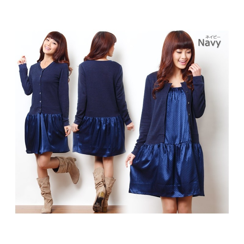 Layerd Knit Cardigan and Dot Satin Maternity and Nursing Dress
