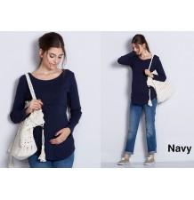 Maglietta premaman e allattamento girocollo a maniche lunghe