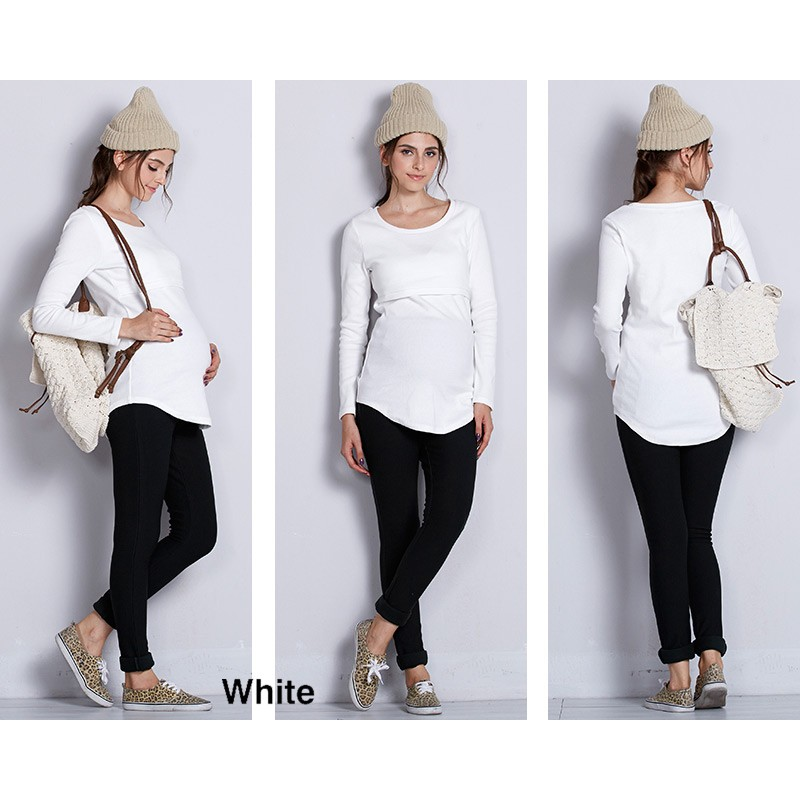 Cotton round neck and long sleeve nursing top