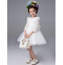 Robe blanche de Cérémonie Fille Demoiselle d'honneur 100-140cm