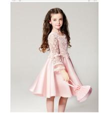 Robe de cérémonie rose petite fille demoiselle d'honneur à manches longues