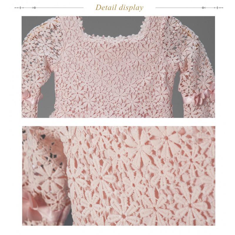 Baby flower girl long sleeve pink formal dress
