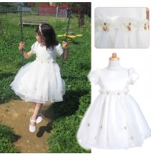Robe de cérémonie blanche petite fille 3-6 ans