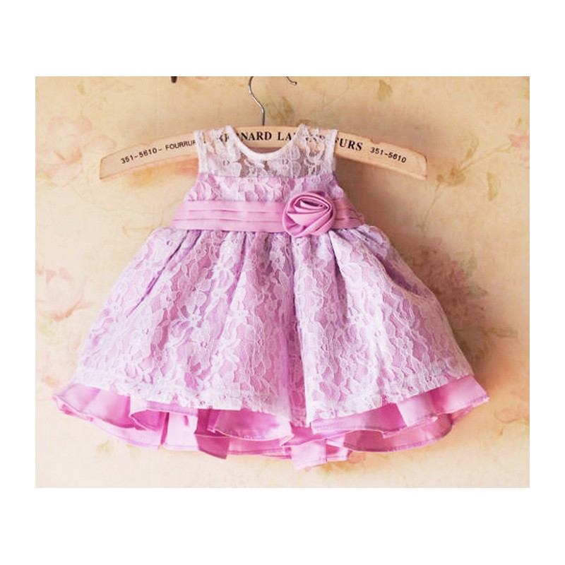 Baby flower girl formal dress Pink 1M - 4 years