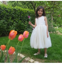 Robe de céremonie et demoiselle d'honneur  fille en tissu Shantung, Blanc 2-14T WD1001