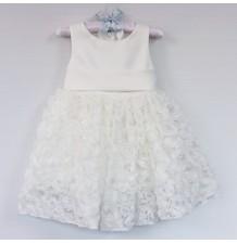 Vestito Cerimonia Bimba Damigella Bianco 1- 6 anni