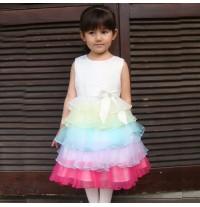 """Vestito Cerimonia Damigella Bimba 1-8 anni Modello """" Rainbow Princess """""""