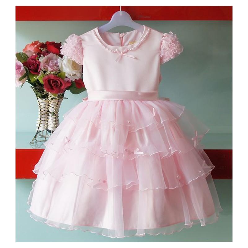 Vestito Damigella e Cerimonia Bimba Bianco Rosa 1- 8anni