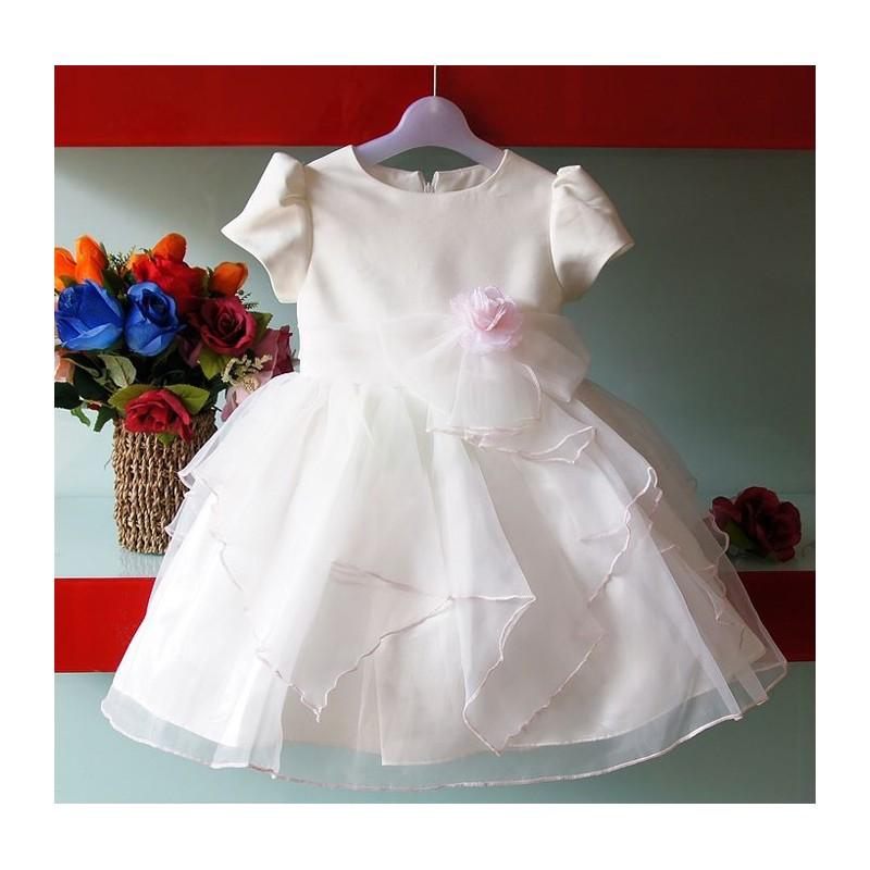 Robe de cérémonie | Demoiselle d'honneur blanche rose 1-7 ans
