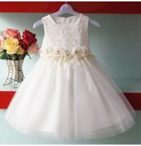 Vestito da damigella e cerimonia Bimba Bianco Rosa 1- 8anni