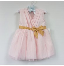 Robe de demoiselle et céremonie fille en tissu Chantung, rose 9-24M